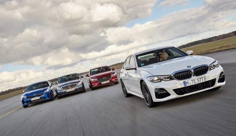 Сравнение: Kia Stinger, Mazda 6, Mercedes C i BMW серии 3